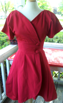 80s Karl Lagerfeld Lipstick Cherry Red Tulip Wrap Party Dress  :  short sleeves tulip hem acetate wrap